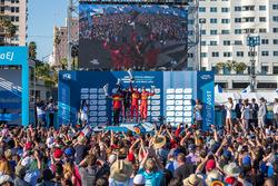 Podio: il vincitore Lucas di Grassi, ABT Schaeffler Audi Sport, secondo place Stéphane Sarrazin, Venturi, terzo Daniel Abt, ABT Schaeffler Audi Sport