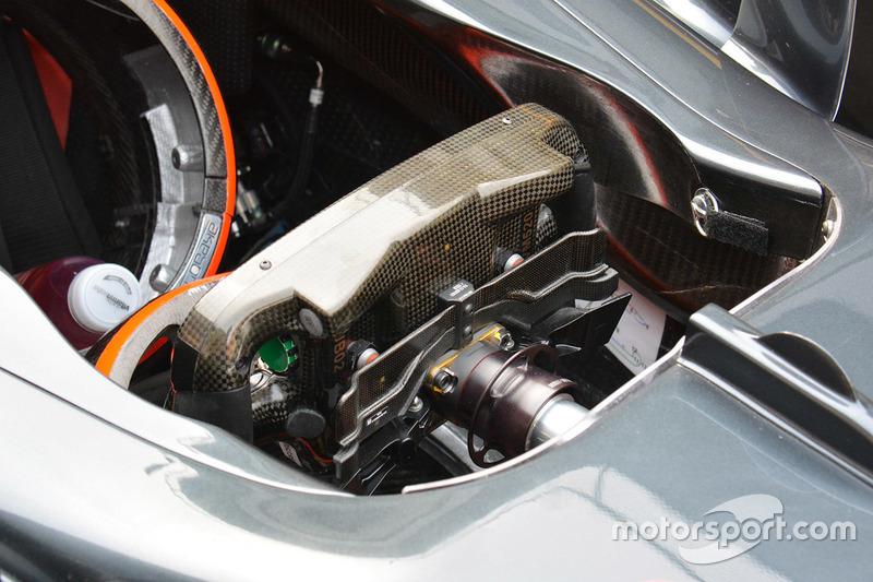 McLaren MP4-31, vista posteriore del volante. In evidenza il bilanciere per il cambio e il paddle doppio della frizione