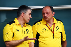 (L to R): Nick Chester, Renault Sport F1 Team Chassis Technical Director with Frederic Vasseur, Renault Sport F1 Team Racing Director