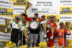 Podium: secon place #50 YACO Racing, Audi R8 LMS: Philip Geipel, Rahel Frey; Winner #77 Callaway Competition, Corvette C7 GT3: Jules Gounon, Daniel Keilwitz; third place #24 kfzteile24 - APR Motorsport, Audi R8 LMS: Florian Stoll, Laurens Vanthoor