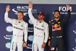 Qualifying: 2. Nico Rosberg, Mercedes AMG F1; 1. Lewis Hamilton, Mercedes AMG F1; 3. Daniel Ricciardo, Red Bull Racing, third