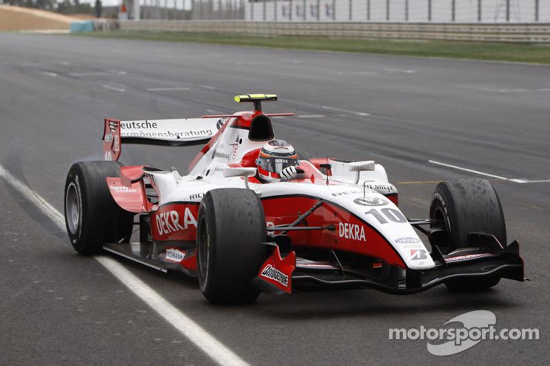 Nico Hulkenberg crosses the line to take victory