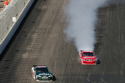 Dale Earnhardt Jr., Hendrick Motorsports Chevrolet avoids Kasey Kahne, Richard Petty Motorsports Dodge as his engine blows
