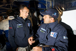 Stéphane Sarrazin and Pedro Lamy in the Team Peugeot Total pit area