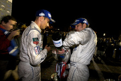 Race winners Stéphane Sarrazin and Franck Montagny celebrate with champagne
