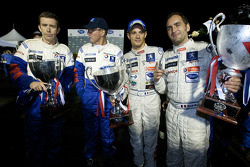 Race winners Stéphane Sarrazin and Franck Montagny celebrates with Team Peugeot director Olivier Que
