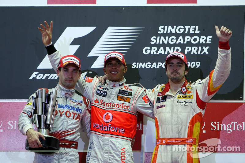 2009 : 1. Lewis Hamilton, 2. Timo Glock, 3. Fernando Alonso