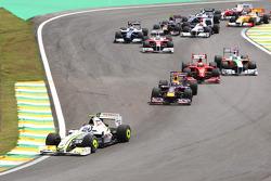 Rubens Barrichello, BrawnGP leads the start of the race