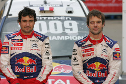Podium: winners and 2009 WRC champions: Sébastien Loeb and Daniel Elena