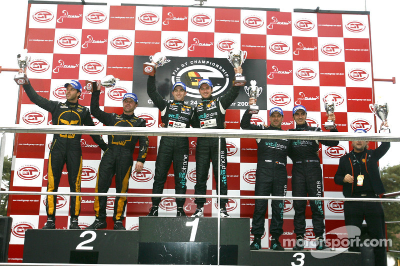 GT1 podium: class and overall winners Alessandro Pier Guidi and Matteo Bobbi, second place Mike Hezemans and Anthony Kumpen, third place Michael Bartels and Andrea Bertolini