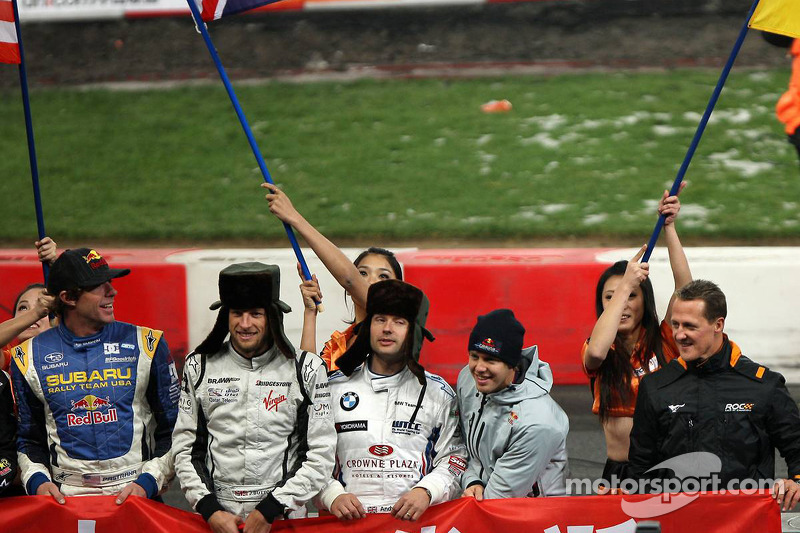 Drivers presentation: Tom Kristensen, Jenson Button, Andy Priaulx, Sebastian Vettel and Michael Schumacher