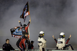 Kyle Busch's team celebrate win and 2009 Nationwide Series championship