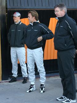 Michael Schumacher, Mercedes GP, Ross Brawn Team Principal, Mercedes GP and Nico Rosberg, Mercedes GP