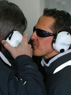 Ross Brawn Team Principal, Mercedes GP nd Michael Schumacher, Mercedes GP