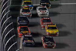 Brian Vickers, Red Bull Racing Team Toyota and Tony Stewart, Stewart-Haas Racing Chevrolet battle for the lead