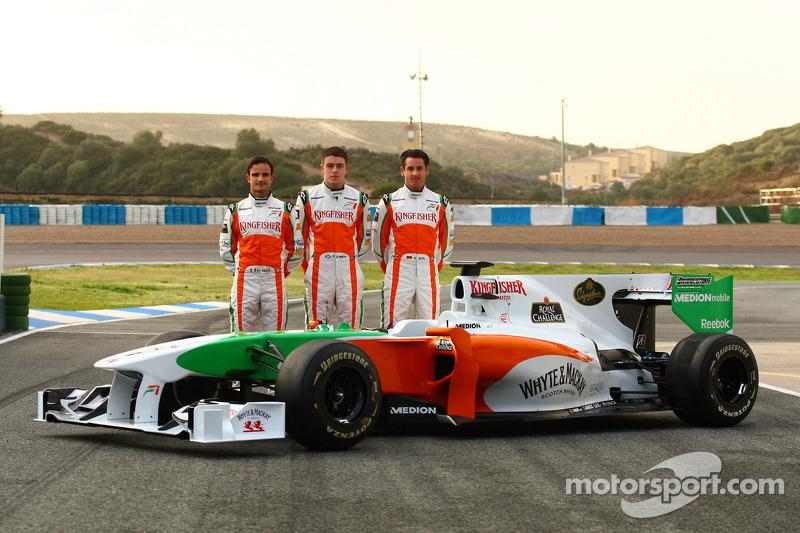 Vitantonio Liuzzi, Force India F1 Team; Paul di Resta, Force India F1 Team; Adrian Sutil, Force India F1 Team