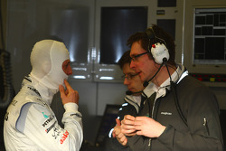 Michael Schumacher, Mercedes GP with Andrew Shovlin, Mercedes GP Petronas, Senior Race Engineer to Michael Schumacher