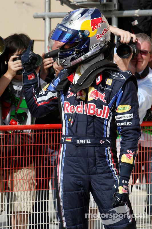 Le poleman Sebastian Vettel, Red Bull Racing