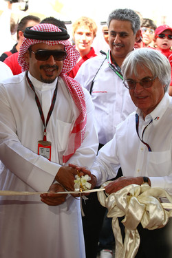 Bernie Ecclestone CEO FOM opens the car display with Crown Prince Shaikh Salman bin Isa Hamad Al Khalifa