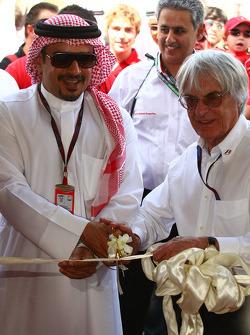 Bernie Ecclestone CEO FOM opens the car display with Crown Prince Shaikh Salman bin Isa Hamad Al Khalifa