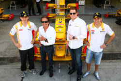 Robert Kubica, Renault F1 Team with Emerson Fittipaldi, Jordi CEO of TW Steel Watches and Vitaly Petrov, Renault F1 Team
