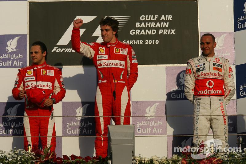 2010: 1. Фернандо Алонсо, 2. Фелипе Масса, 3. Льюис Хэмилтон