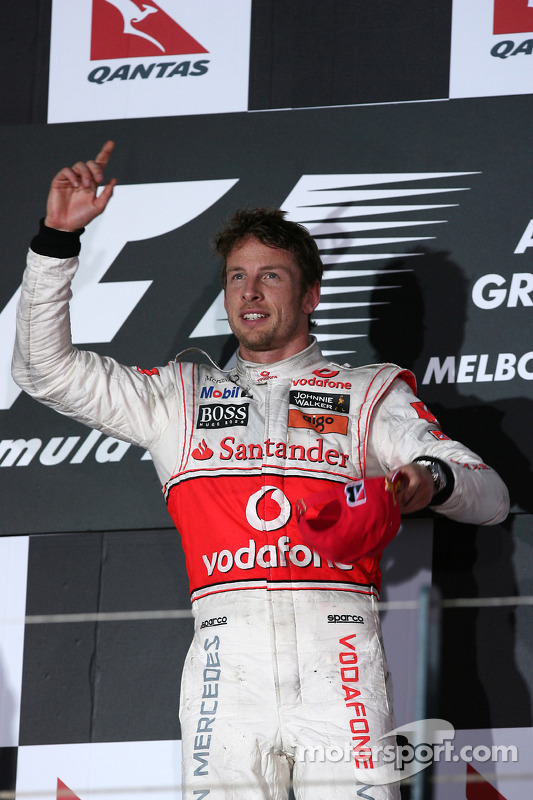 Podium: race winnaar Jenson Button, McLaren Mercedes