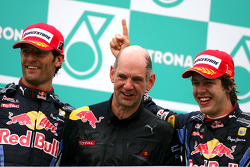 Podium: race winner Sebastian Vettel, Red Bull Racing, second place Mark Webber, Red Bull Racing, Adrian Newey, Red Bull Racing, Technical Operations Director