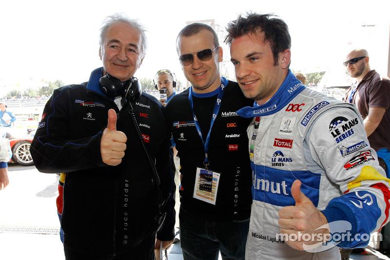 Polepositie Nicolas Lapierre met Hugues de Chaunac en Olivier Panis