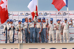 FLM podium: class winners Damien Toulemonde, David Zollinger and Ross Zampatti, second place Mathias Beche, Christophe Pillon and Vincent Capillaire, third place Andrea Barlesi, Alessandro Cicognani and Gary Chalandon