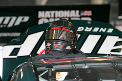 Dale Earnhardt Jr.'s helmet rest on the #88 Amp Engery/National Guard Chevrolet