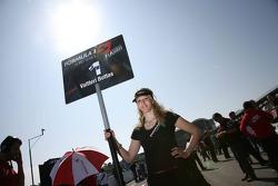 Grid girl of Valtteri Bottas, ART Grand Prix, Dallara F308 Mercedes