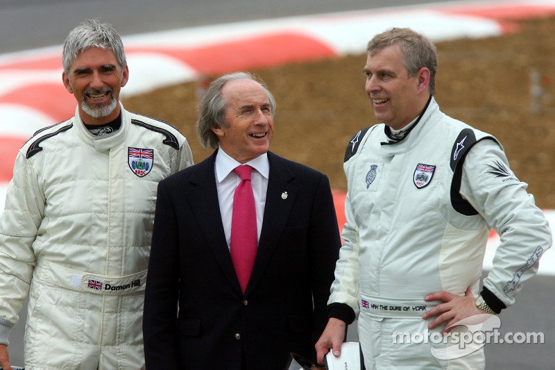 Damon Hill, BRDC President, met Jackie Stewart en HRH Prince Andrew, The Duke of York