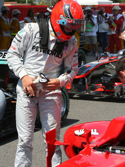 Michael Schumacher, Mercedes GP looks at the Ferrari