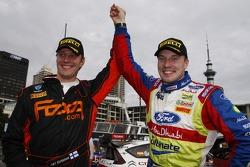 Winner Jari-Matti Latvala celebrates with Jari Ketomaa