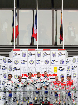 LMP1 podium: class and overall winners Pedro Lamy, Sébastien Bourdais and Simon Pagenaud, second place Franck Montagny, Stéphane Sarrazin and Nicolas Minassian, third place Rinaldo Capello, Tom Kristensen and Allan McNish