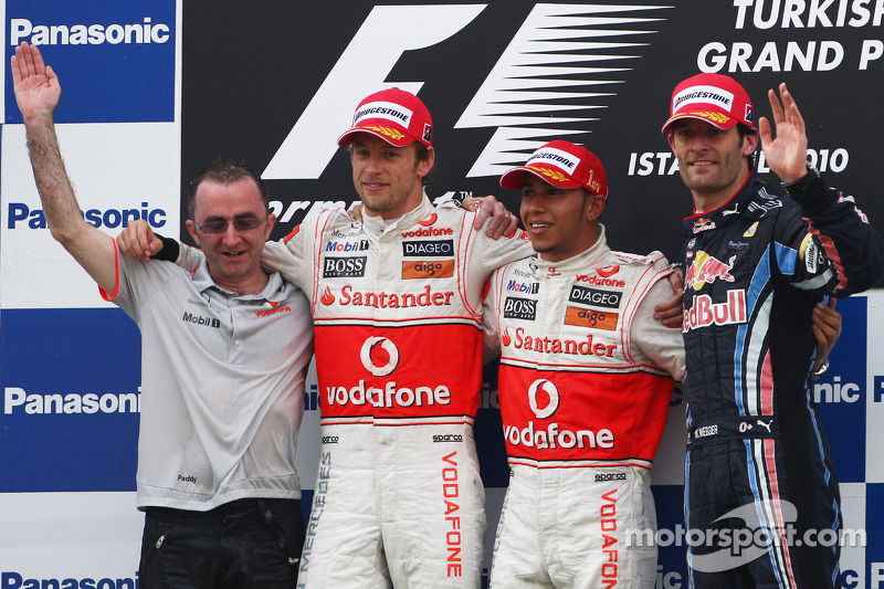 Podium: race winnaar Lewis Hamilton, McLaren Mercedes, 2de Jenson Button, McLaren Mercedes, 3de Mark Webber, Red Bull Racing
