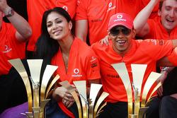 Sieger Lewis Hamilton, McLaren Mercedes mit Freundin Nicole Scherzinger und Jenson Button, McLaren Mercedes