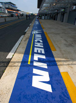 The new Michelin signage on pitlane