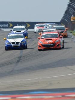 #03 Team MER Mazda Speed 3: Jason Saini, Justin Piscitell, #80 Bimmerworld/GearWrench BMW328i: James Clay, David White
