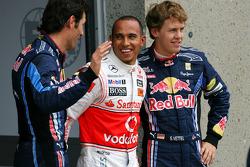 Sebastian Vettel, Red Bull Racing, Lewis Hamilton, McLaren Mercedes et Mark Webber, Red Bull Racing