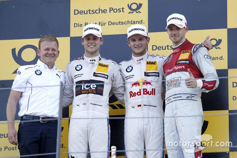 Podio: Stefan Reinhold, BMW Team RMG; segundo lugar Tom Blomqvist, BMW Team RBM, BMW M4 DTM; pimer lugar Marco Wittmann, BMW Team RMG, BMW M4 DTM; tercer lugar Edoardo Mortara, Audi Sport Team Abt Sportsline, Audi RS 5 DTM