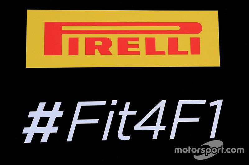 Pirelli logo and hashtag #Fit4F1