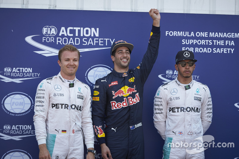 Polesitter Daniel Ricciardo, 2. Nico Rosberg, 3. Lewis Hamilton