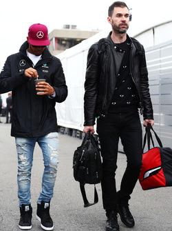 (L to R): Lewis Hamilton, Mercedes AMG F1 with Marc Hynes