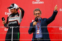 (L to R): Sergio Perez, Sahara Force India F1 on the podium with Eddie Jordan (IRE)