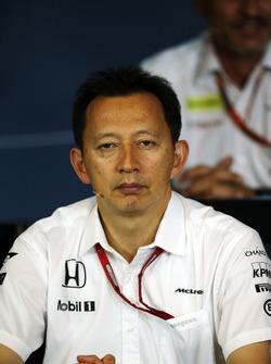 Yusuke Hasegawa, director del programa de F1 de Honda en la Conferencia de prensa FIA