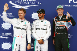 Polesitter Lewis Hamilton, Mercedes AMG F1 Team, second place Nico Rosberg, Mercedes AMG F1 Team, third place Nico Hulkenberg, Sahara Force India