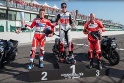 Podio drag race: il vincitore Scott Redding, Pramac Racing, secondo Casey Stoner, Ducati Team, terzo Régis Laconi