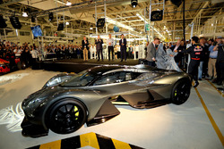 Adrian Newey, the Chief Technical Officer of Red Bull Racing, Daniel Ricciardo of Australia and Red Bull Racing, and Marek Reichman- Executive Vice President & Chief Creative Officer, Aston Martin Lagonda Ltd reveal the AMRB 001 at the Aston Martin and Red